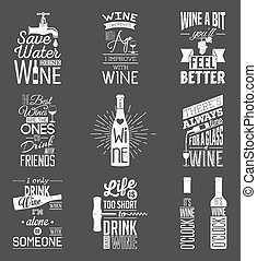 Eine Reihe von Vintage-Wein-typografischen Zitaten. Der Grunge-Effekt kann bearbeitet oder entfernt werden.