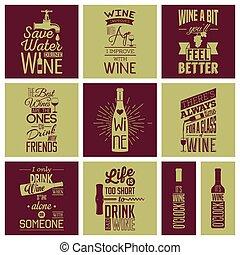 Eine Reihe von Vintage-Wein-typografischen Zitaten.