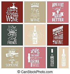 Eine Reihe von Vintage-Wein-typografischen Zitaten