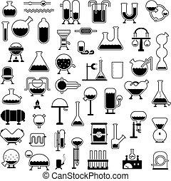 Eine Reihe von Zeichentrickmechanismen Silhouetten.