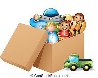 Eine Schachtel mit verschiedenen Spielzeugen