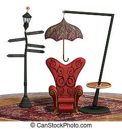 Eine sehr surreale Darstellung eines Stuhls mit lustigen Elementen. 3D, ein Fantasiethema für Hintergrundnutzung.