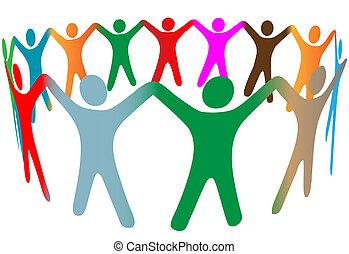 Eine Vielzahl verschiedener Symbole, die Menschen mit vielen Farben Händchen halten