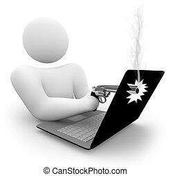 Einen Laptop erschießen