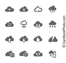 Einfache Ikone, die mit der Berechnung der Wolke zusammenhängt