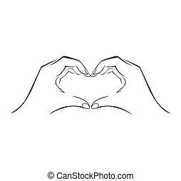 einfache , symbol, liebe, hand