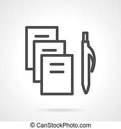 einfache , vektor, schwarz, schreibwaren, linie, ikone