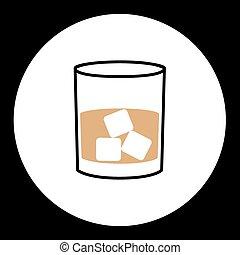 Einfaches Whiskyglas mit Eiswürfel Ikone eps10.
