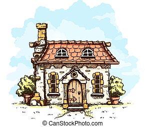 Eingang in altes Märchenhaus mit Kachelndach