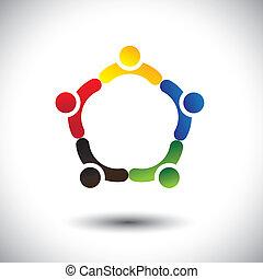 Einheit in der Menschengemeinschaft, Solidarität & Freundschaft-Konzept
