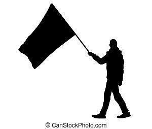 eins, leute, flaggen