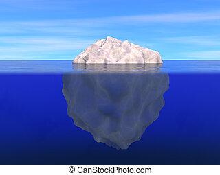 Eisberg über und unter dem Meeresspiegel.