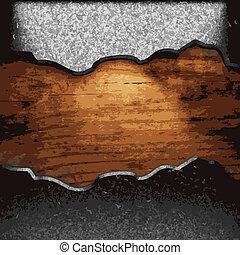 Eisenplatte auf Holz