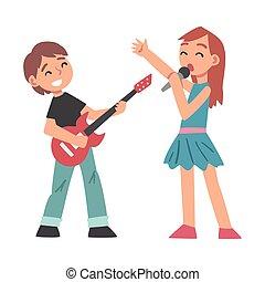 elektrisch, reizend, junge, kind, spielende , karikatur, instrument, mikrophon, musikalisches, lernen, abbildung, m�dchen, stil, spielen, gitarre, singende, vektor