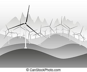 elektrizität, wind, generatoren, windmühlen