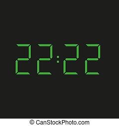 elektronisch, schwarz, 22:22, zwei, zwanzig, grün, uhr, vier, zahlen, hintergrund, ?, zeit, wiederholen