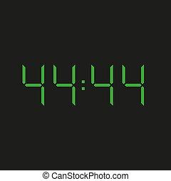elektronisch, schwarz, grün, uhr, vierzig, vier, zahlen, hintergrund, 44:44, ?, datum, wiederholen