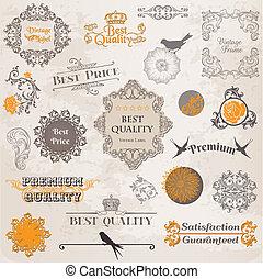 elemente, dekoration, etikett, sammlung, calligraphic, vektor, design, weinlese, blumen, seite, set: