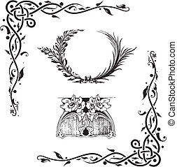 elemente, dekorativ, floral entwurf