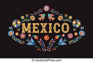 elemente, mexikanisch, bunte, mexiko, blumen, hintergrund, banner, vögel