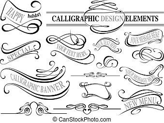 elemente, sammlung, calligraphic