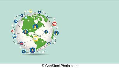 elements., network., aus, daten, tauschen, welt, übertragung, begriffe, leute., global, international, 3d, los, vernetzung, technologie- kommunikation