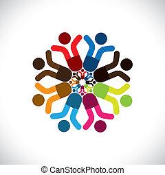 Empfehle Vektoren, abstrakte farbenfrohe Kinder, die Icons(signs) feiern. Die Illustration zeigt Konzepte wie Arbeitnehmergewerkschaften, Arbeitnehmerverschiedenheit, Gemeinschaftsfreundlichkeit & Teilung, Kinderspiel usw