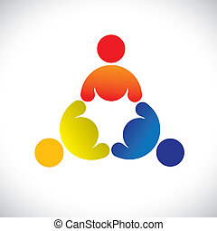 Empfehle Vektorgrafik, bunte Dreierkinder, die Icons (signs) spielen. Die Illustration repräsentiert Begriffe wie Arbeitnehmergewerkschaften, Arbeitnehmervielfalt, Gemeinschaftsfreundlichkeit & Teilung, Kinderspiel usw