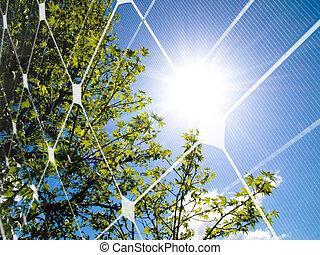 energie, begriff, sonnenkollektoren