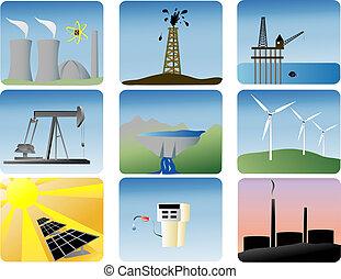 Energie-Ikonen aufgestellt