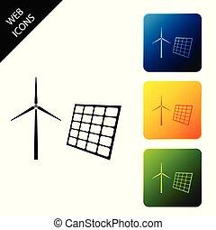 energie, satz, wind, tafel, elektrizität, ikone, hintergrund., sonnenkollektoren, turbinen, alternative, erneuerbar, bunte, begriff, buttons., mühle, erzeugen, quadrat, energy., vektor, weißes, heiligenbilder, abbildung, freigestellt