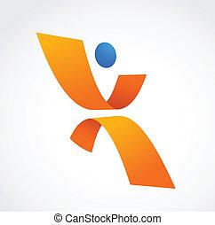 Entferne menschliche Ikone, orange und blaue Farben