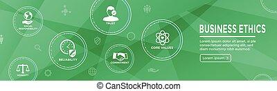 entscheidung, geschaeftswelt, rechtschaffenheit, banner, ehrlichkeit, engagement, ethik, satz, web, ikone