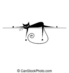 Entspann dich. Schwarze Katze für dein Design