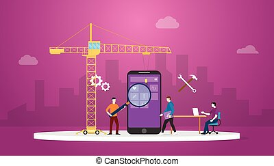 entwickler, hintergrund, mannschaft, kranservice, wohnung, apps, vektor, entwicklung, stil, stadt, beweglich, -, moderne technologie