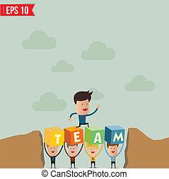eps10, geschaeftswelt, aus, -, abbildung, springen, vektor, hügel, mann