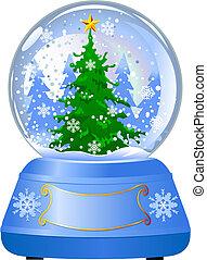 erdball, baum, schnee, weihnachten