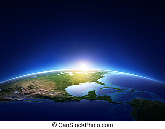 Erde Sonnenaufgang über wolkenlose Nordamerika