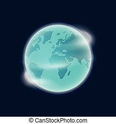 Erdplanet Globus Vektorgrafik isoliert auf dunkelblauem Hintergrund.