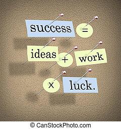 Erfolg bedeutet Ideen und Arbeitszeiten Glück