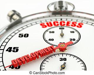 Erfolg und Entwicklung. Stoppuhr.