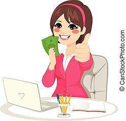erfolgreich, geschäftsfrau, geld, fächer, banknote
