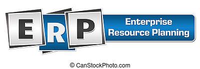ERP - Enterprise Resource Planung blauer grauer Quadrate Bar.