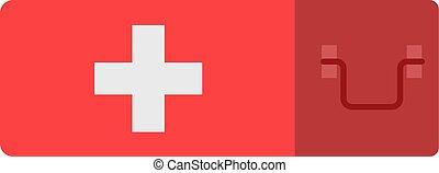 Erste Hilfekit isoliert auf weißem Hintergrund