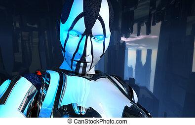 Erweiterter Cyborg-Soldat.