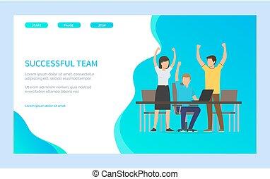 erzielen, mannschaft, blaues, erfolg, erfolgreich, vektor, webpage