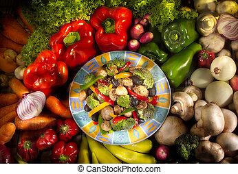 essensschüssel, vegetarier, gemuese