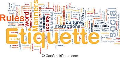 Etiquette Hintergrundkonzept