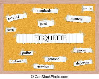 Etiquette Korkboard Wort Konzept.