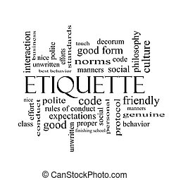 Etiquette Wortwolke Konzept in schwarz und weiß.